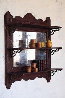 ミラー付きウォールシェルフ-antique mirror wall shelf