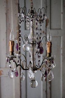 ロイヤルパープルの3灯シャンデリア-french chandelier