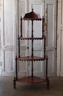 マホガニーのコーナーシェルフ-antique mahogany corner shelf