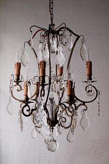曲線と光 8灯のシャンデリア-french glass chandelier
