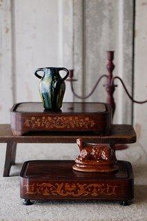 象嵌のマホガニーベース-inlay mahogany vase
