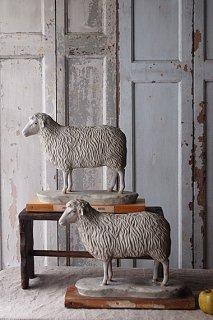 温和な羊のオブジェ-plaster sheep objet
