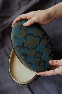 青に溺れる、まるで青海波-antique oval paper box