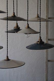集うペンダントランプ-vintage enamel pendant lamp