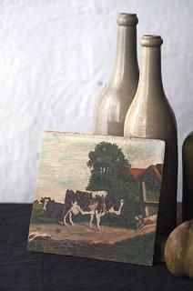 うららか 牛と牛追い犬-oil painting plate