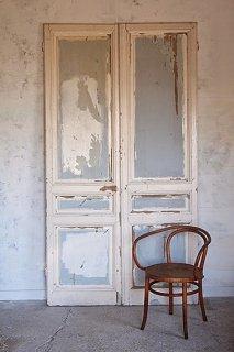 フランス アンティークの木製ドアセット-pair antique french door