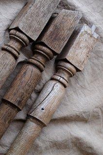 アンティーク木製手すり支柱 3本セット-antique wood prop