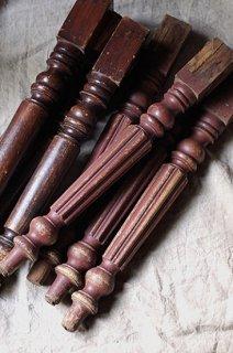 煉瓦色アンティーク木製テーブルの脚 4本セット-antique table leg
