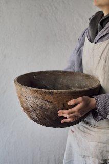 大きな木枯れうつわ-antique wood bowl