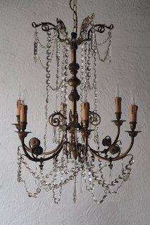 曲と渦巻 6灯シャンデリア-antique brass chandelier