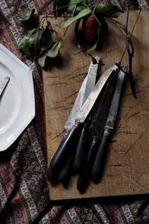 漆黒の柄 コースナイフ-french antique knife