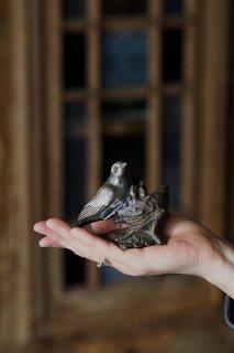 親鳥雛鳥、巣篭もりを-antique pewter bird objet