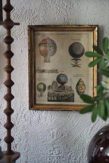 空への渇望 気球変遷-antique stone print paper frame