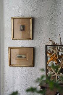 小窓枠向こう、風景-vintage watercolor frame