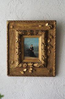 河岸 佇む女性肖像-antique oil painting frame