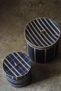 二つマニッシュストライプ帽子箱-two sets of vintage paper hat box