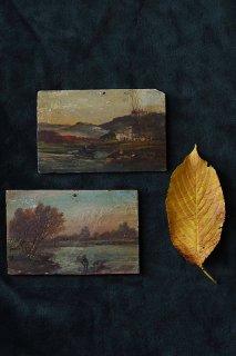 湖畔 哀愁漂う釣り風景-antique oil painting