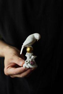 雲覗き是非白い鳥-vintage pottery bird objet