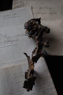 真鍮ボタニカルパーツ-antique brass flower candle parts