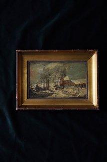 雪路、外へ向かう-oil painting frame