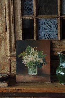 スズランブーケ板油絵-antique oil painting