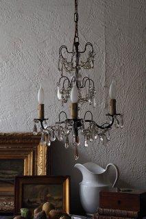 三方3灯シャンデリア-antique glass drop chandelier