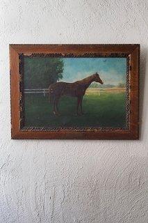 百里を制す馬の油絵-antique oil painting frame