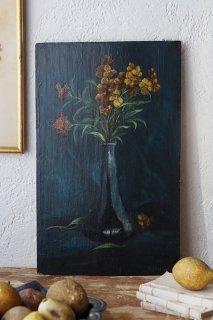 花入れとオレンジの花-antique oil painting