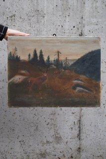 小高い斜面に鹿数頭-oil painting