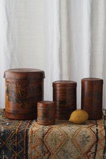 飴色 輪っぱスパイス・茶葉入れ-antique paper round box set