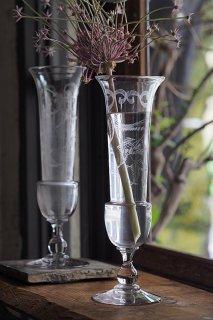 緑として花入れ 水通し-pair antique glass vase