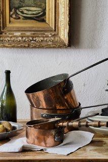 ソース、ブイヨン、シチュー作りに 銅鍋-antique copper pot
