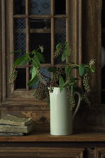 ペリカン口白いピッチャー-vintage pottery pitcher