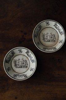 モノクローム戯れの天使絵皿-antique pottery plate