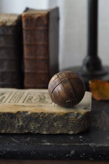 パーツブロックから円成り-vintage wood ball puzzle