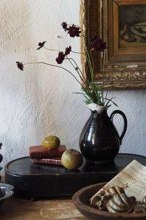 黒釉片口水差し-antique pottery pitcher