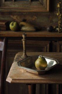 果物受け皿 スクエアボウル-vintage silver plate square bowl