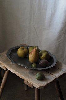 シェルの縁 飾りボウル-antique pewter bowl