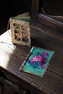 陽通しにお花のシルエット-antique greeting card