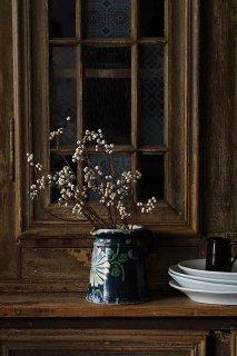 鉄紺に菊が開花-antique pottery jug
