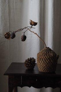 編み目 佇まい フォークアート-antique hemp cover bottle