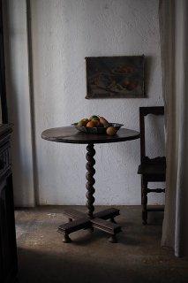 円サイドテーブル-antique round side table