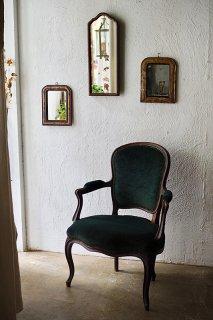 深いグリーンモケット張り 肘掛け椅子-antique french arm chair