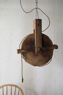 円と線と線 セグメント-antique wood pulley pendant lamp