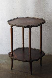 空く気持ち 木目合い-antique parquetry side table