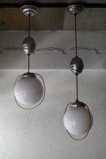 丸が昇降 滑車ペンダントランプ-vintage glass pendant lamp
