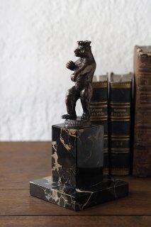 構えそのまま挑む熊-vintage or antique bronze bear objet