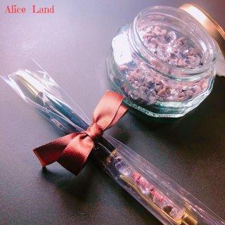 【雑貨】Alice Land original  ボールペン & jewelry salt *ブラック岩塩(100g)