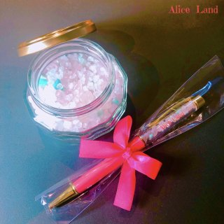 【雑貨】Alice Land original  ボールペン & jewelry salt *アマゾナイト&ローズクォーツ(100g)