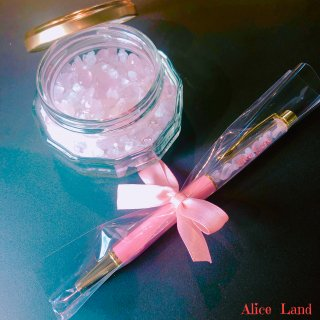 【雑貨】Alice Land original  ボールペン & jewelry salt *ローズクォーツ(100g)